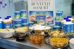 Danone products and breakfast foods Royalty Free Stock Photo