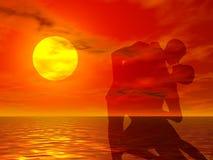 Dans bij zonsondergang Stock Foto's