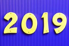2019 dans des nombres jaunes Images stock