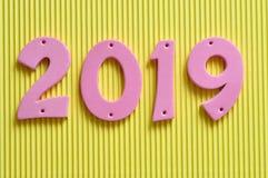 2019 dans des nombres roses Photo stock