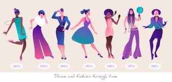Dans en Manier door tijd Reeks zeven vrouwen die dragend kleren van verschillende era's, van de jaren '20 aan de jaren '80 dansen vector illustratie