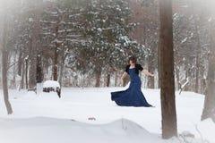 Dans för elegant kvinna i snö Arkivfoton