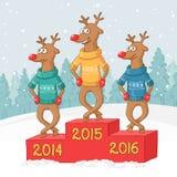 Dans för tre hjortar ovanför skogliggande skjuten snowtreesvinter glad vykort för jul Arkivbilder