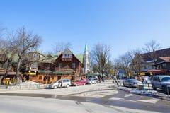 Dans ici Krupowki la rue commence, Zakopane Photographie stock