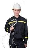 Dans l'électricien amoureux Image stock