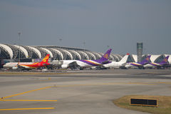 Dans l'aéroport international de Suvarnabhumi Images libres de droits