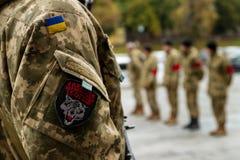 Dans l'adieu d'Uzhhorod au soldat qui est mort des blessures dans la zone de l'ATO Photographie stock libre de droits