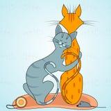 Dans l'amour les chats sont dans l'étreinte illustration de vecteur