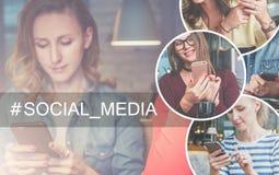 Dans la bonne partie de l'image il y a les icônes rondes avec l'image des filles avec des smartphones Images stock