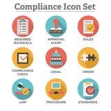 Dans la conformité - l'ensemble d'icône montrant une société a passé l'inspection illustration libre de droits