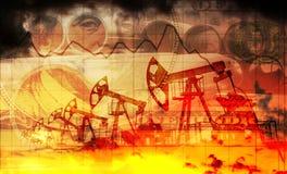 Dans la facture de 100 dollars sur le fond de l'industrie d'oléoduc (double exposition) Images stock