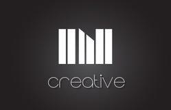 DANS la lettre Logo Design With White d'I N et les lignes noires Photos stock
