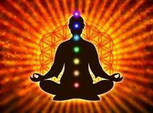 Dans la méditation avec des chakras Image stock