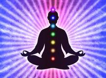 Dans la méditation avec des chakras Image libre de droits