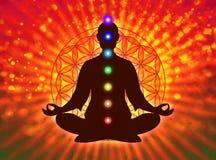 Dans la méditation avec des chakras Images stock