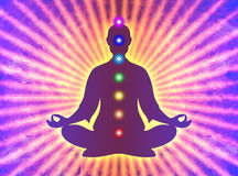 Dans la méditation avec des chakras Photographie stock libre de droits