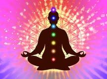 Dans la méditation avec des chakras Photo stock