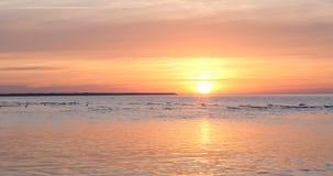 Dans la perspective de la mer, le soleil se couche, les vagues sur la mer au coucher du soleil sont dans la temps-faute banque de vidéos