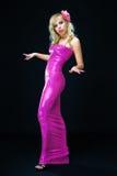 Dans la robe de soirée rose Images libres de droits