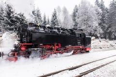 Dans le premier plan le chemin de fer de Brocken Horizontal de l'hiver Photo libre de droits