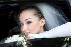 Dans le véhicule de mariage Photos libres de droits