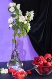 Dans les branches blanches d'un jasmin de support transparent de vase photo stock