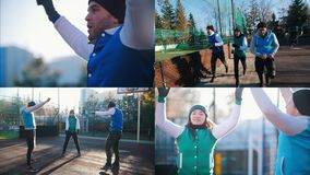 4 dans 1 : les jeunes s'exerçant en parc dehors, les sports ont rectifié banque de vidéos