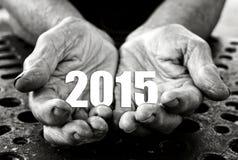 2015 dans les mains Photo libre de droits
