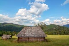 Dans les montagnes du village de Carpathiens Synevir a abandonné la maison en bois Sans locataires Photographie stock libre de droits