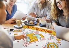 Dans lui ensemble Team Corporate Connection Support Concept images stock