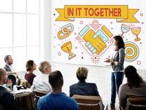 Dans lui ensemble Team Corporate Connection Support Concept image stock