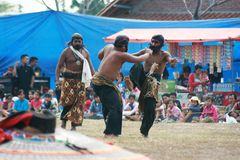 Dans och dragning av traditionella Reog Ponorogo Arkivfoto