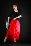 dans Spaans meisje met ventilator het dansen flamenco Stock Afbeelding