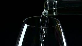 Dans un grand verre de vin blanc a versé, noircit, plan rapproché, au ralenti clips vidéos