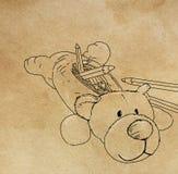 Dans un support en forme de chien de crayon avec la fourrure photographie stock libre de droits