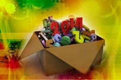 2014 dans une boîte. illustrations 3d Photos stock