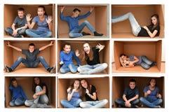 Dans une boîte en carton Photo stock