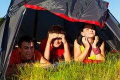Dans une tente de touristes Images libres de droits