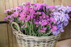 Dans une variété de panier en osier de fleurs de Salem de sinuatum ou de statice de limonium dans des couleurs roses, lilas, viol Photo libre de droits