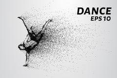 Dans van de deeltjes Breakdance bestaat uit kleine cirkels Vector illustratie royalty-vrije stock fotografie