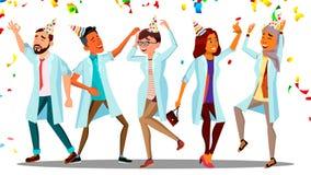 Dansa dag för doktor On Doctor s, gruppen av lyckliga doktorer i festliga lock och konfettivektorn Isolerad tecknad film stock illustrationer