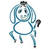 Dansa den blåa åsnan med en rolig frisyr och ett stort leende royaltyfri illustrationer