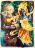 Dansa den blåa ande- och visionärkvinnan, färgrik målning Fotografering för Bildbyråer