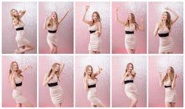 Dansa den blonda kvinnan med exponeringsglas av champagne Arkivbild