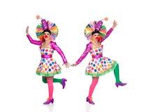 Dansa för två roligt clowner royaltyfri bild