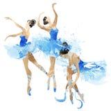 Dansa för vattenfärgballerina Arkivbild