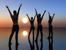 dansa fyra kvinnor Arkivbilder