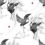 Dansa japanska kranar stock illustrationer