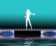 dansa joyful kvinna vektor illustrationer