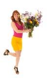 Dansa med blommor Fotografering för Bildbyråer